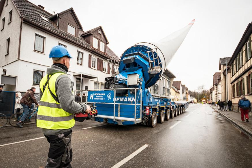 Rotorblatt-Transport durch Schorndorf